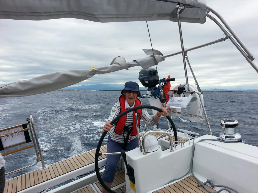 Owner's mum on the maiden sail at over 10 knots.